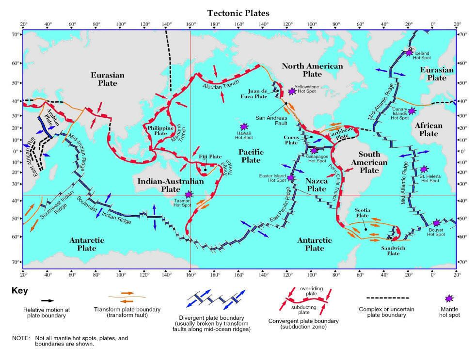 E Plate Tectonics Th Grade Science - Plates map